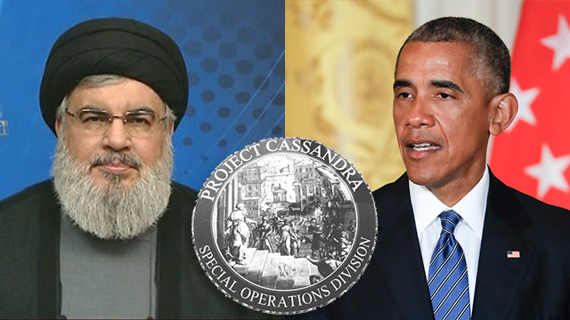 Former US President Obama (R), Hezbollah leader Nasrallah and Project Cassandra symbol (Photo: AP, AFP)