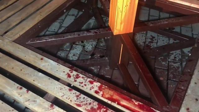 Blood on the menorah base