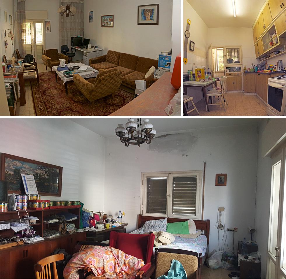 המטבח (למעלה מימין), הסלון וחדר השינה לפני השיפוץ. כאן נולד וגדל בן הזוג, והדירה לא עברה שיפוץ מאז שהבניין נבנה, בשנות ה-60. בתחילה חשבו בעמותת ''אנוש'', שיזמה את השיפוץ, על טיפול קוסמטי, אך לאחר הביקור בדירה שכנעה המעצבת רונה טמקין ללכת על פרויקט רציני יותר (צילום: דניאל אברהם)