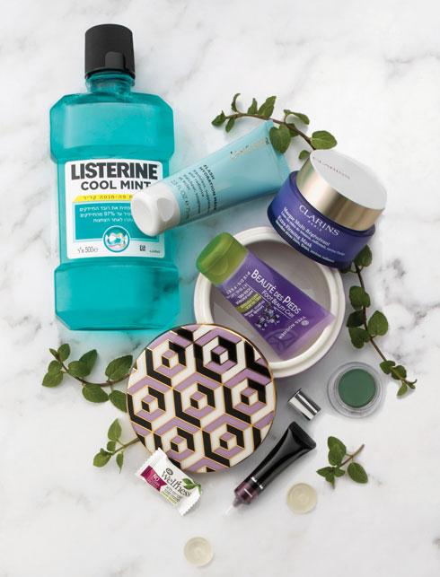 """מסכת פנים עם תמציות מנטה ולימונית: Clarins /// מסכת פנים עם תמצית מנטה: Lancaster /// שטיפת פה: ליסטרין COOL MINT /// ג'ל טיפוח לרגליים עם תמצית נענע : Yves Rocher ///  צללית: Shiseido /// צללית קרם:  Il Makiage /// סוכריות בטעם מנטה: Life ל""""סופרפארם"""" /// קופסת פורצלן מעוטרת: תמרינדי, רמת השרון (צילום: קית' גלסמן)"""