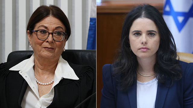 Justice Minister Shaked (R) and Chief Justice Hayut (Photo: Yonatan Zindel/Flash 90 and Alex Kolomoisky)