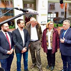 R-L: Ambassador Issacharoff, borough Mayor Angelika Schottler, former Bundestag member Volker Beck, Yorai Feinberg and Mike Dalberg of the Berlin Jewish community