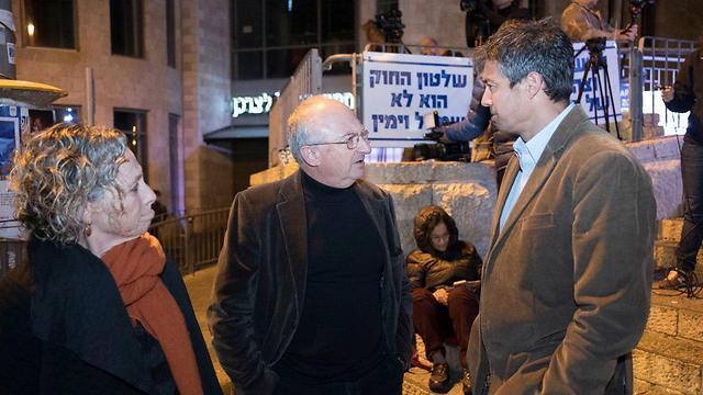 יועז הנדל ואריה אלדד בהפגנה בירושלים (צילום: יואב דודקביץ') (צילום: יואב דודקביץ')