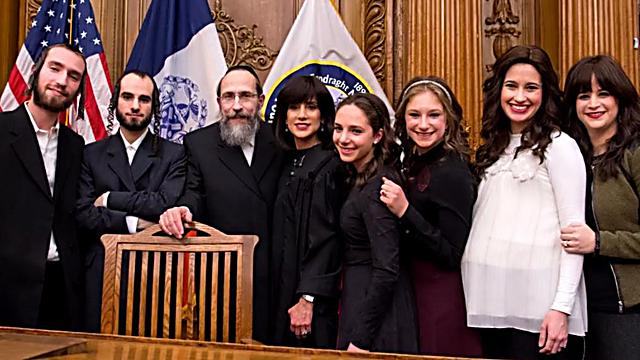 Rachel Freier with her family. 'My husband is the first Hasid that supported his wife, financed my campaign and didn't stop until I won the election'  (Photo: Eli Mandelbaum)