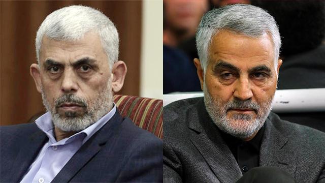 Hamas leader Sinwar (L) and Quds Force commander Suleimani (Photo: AP)