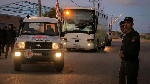 Red Cross escorts the bus back to Gaza