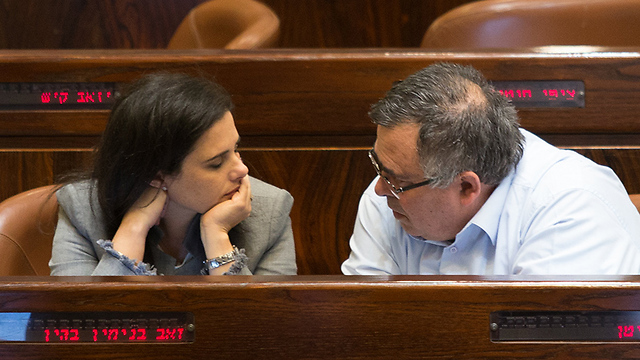Shaked with former coalition head MK David Bitan at the Knesset (Photo: Alex Kolomoisky)