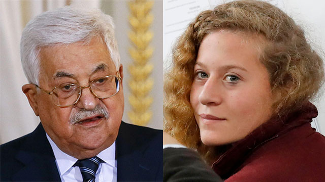 Ahed Tamimi and Palestinian President Mahmoud Abbas (Photo: AFP)