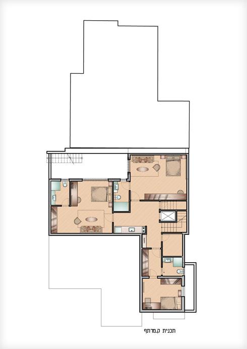 תוכנית קומת המרתף (תוכנית: נירית ושרה פרנקל אדריכלות ועיצוב פנים)