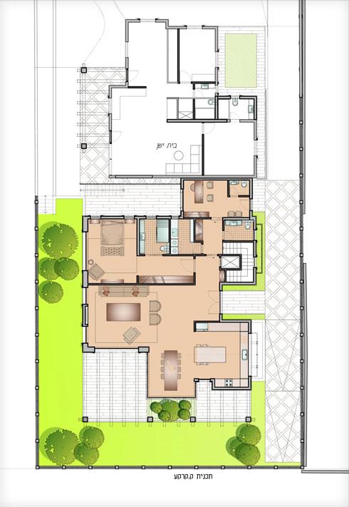 תוכנית קומת הקרקע (מלפנים הבית הישן) (תוכנית: נירית ושרה פרנקל אדריכלות ועיצוב פנים)