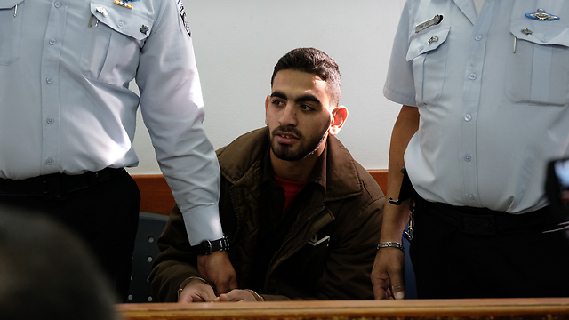 Terrorist Omar al-Abed at the Ofer Military Court, Wednesday (Photo: Yoav Dudkevitch)