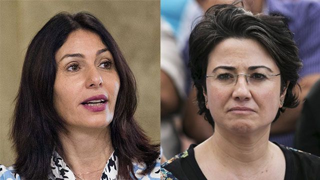 Regev (L) and Zoabi. 'You should have boarded the Marmara again' (Photo: Reuters, Yonatan Sindel/Flash 90)