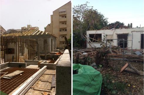 בתהליך הבנייה. בתמונה מימין הבית הישן (צילום: פיקוח צור ארזים)
