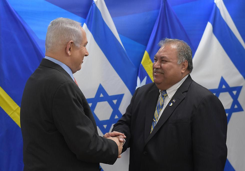 Prime Minister Netanyahu meets with Nauru President Baron Waqa (Photo: Amos Ben-Gershom)