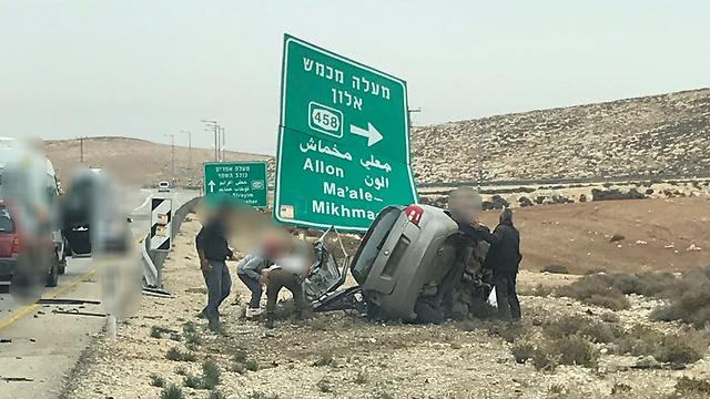 תאונה קטלנית בכביש 458 בשבוע שעבר (צילום: דוברות המשטרה) (צילום: דוברות המשטרה)