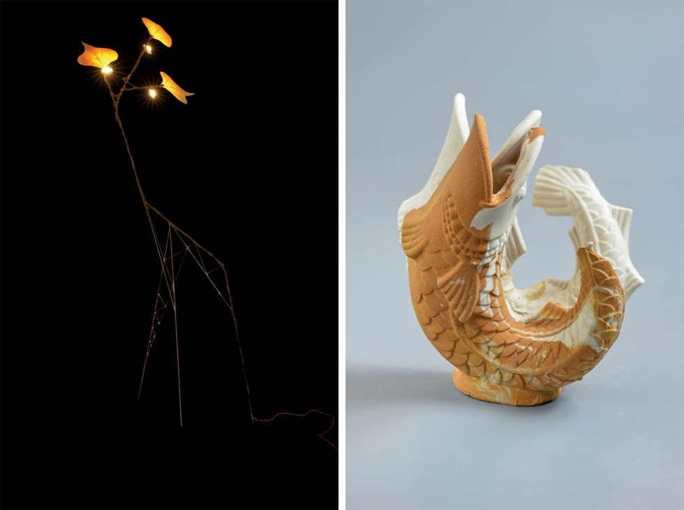 מימין: מתוך תערוכה של שלומית באומן על התכלותם של משאבים טבעיים, ב-2013. משמאל: מתוך תערוכת היחיד הראשונה של תומר ספיר ב-2007. מאז בחר להתמקד בעולם האמנות (צילום: שי בן אפרים, עודד מרום)