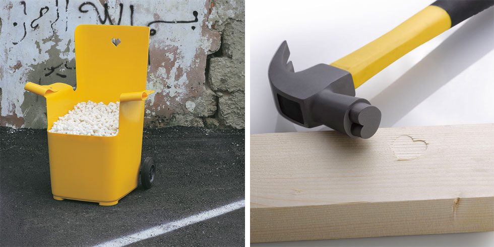 מימין: a love hate thing, עבודה שהכין דב גנשרוא לכבוד התערוכה החדשה. משמאל: כיסא מסדרה שהציגו עמי דרך ז''ל וגנשרוא בגלריה ב-2001 (צילום: מוטי פישביין, ליאת פז)