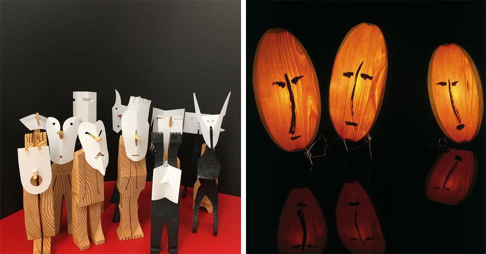 מימין: גופי תאורה מתוך תערוכת יחיד של חנן דה-לנגה, ב-2006. משמאל: פיגורינות שיצר יעקב קאופמן לכבוד התערוכה החדשה (צילום: יונתן גולד, יעקב קאופמן)