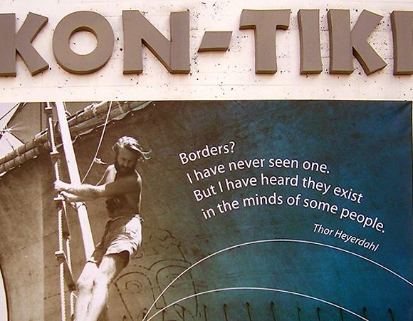 ציטוט של תור היירדאל על רקע מוזיאון קון טיקי בנורבגיה (צילום: מתוך ויקיפדיה)