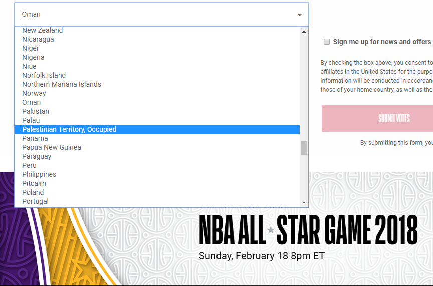 The original option on the NBA's All Star Game voting page (Photo: NBA.COM)
