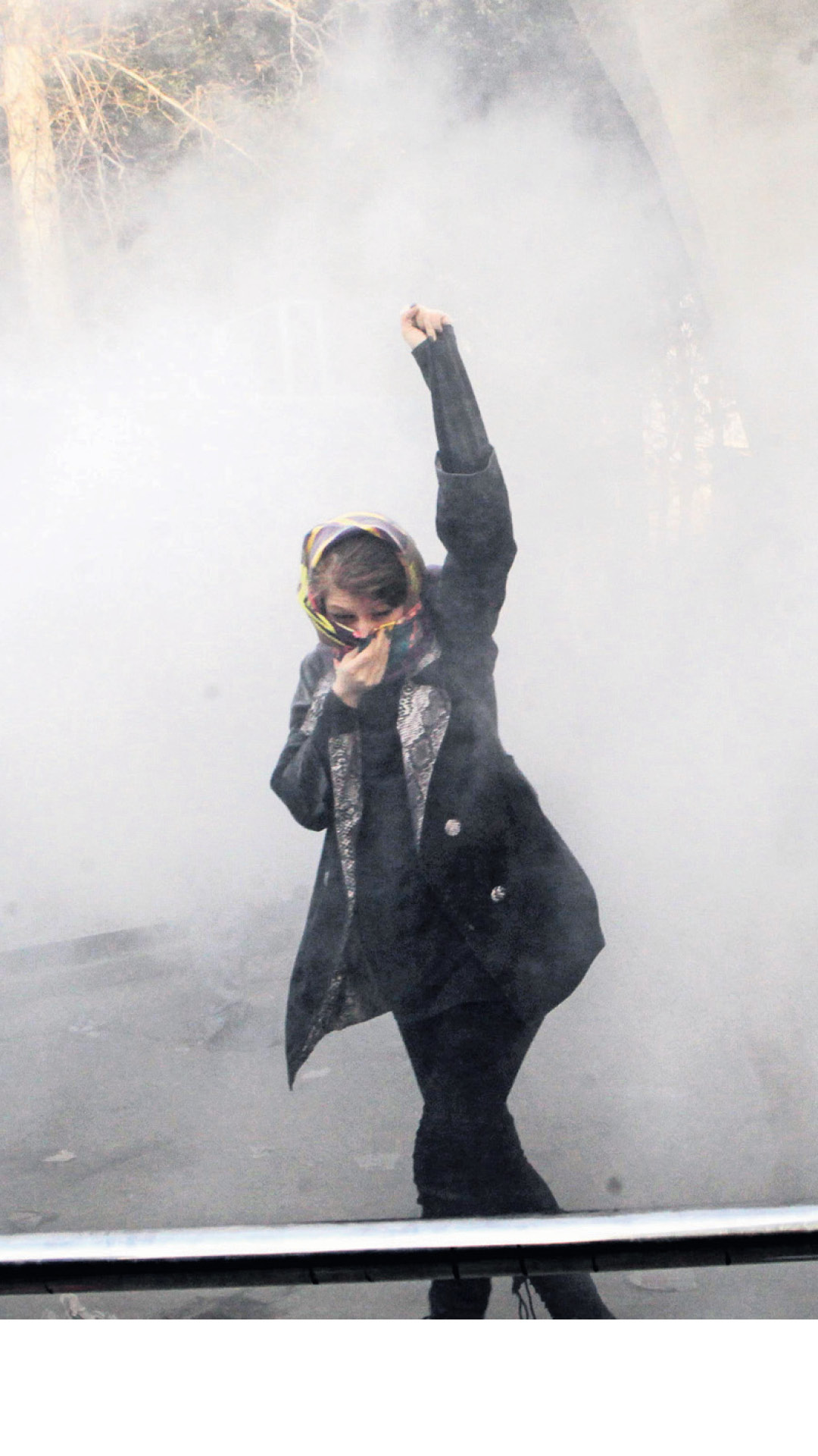 A protestor in Tehran in December 2017. Every protest generates claims that the regime is about to collapse
