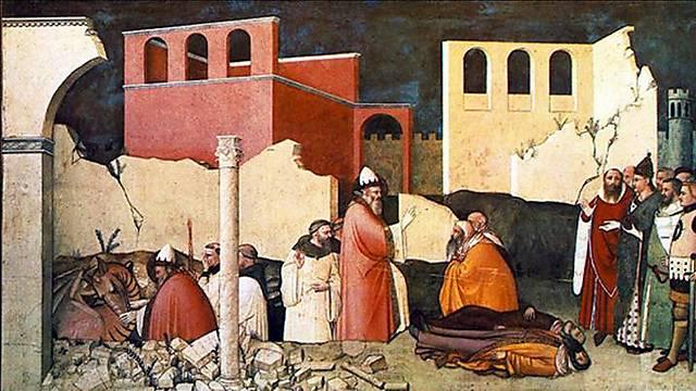 סילבסטר וקונסטנטינוס - סיפור אהבה שנגמר רע (מבחינתנו היהודים) (פרסקו של Maso di Banco) (פרסקו של Maso di Banco)