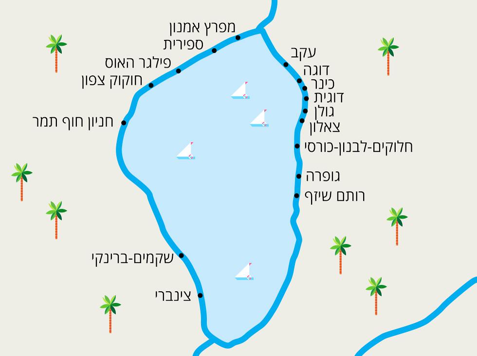 מפת חופי הכינרת ()