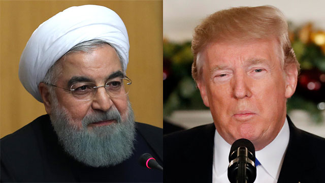 טראמפ ורוחאני (צילום: AFP, AP) (צילום: AFP, AP)