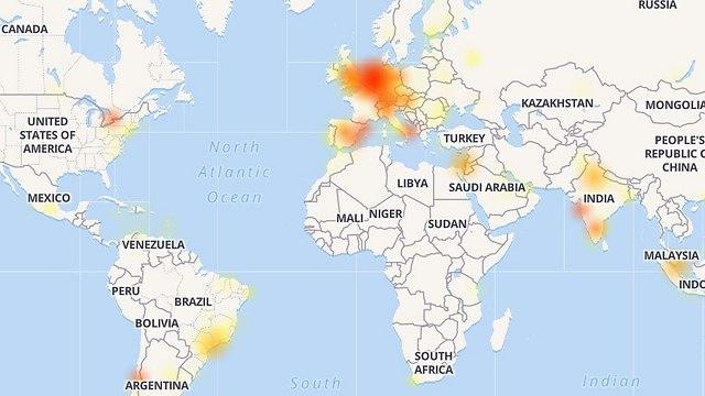 מפת הדיווחים באתר http://downdetector.com ()