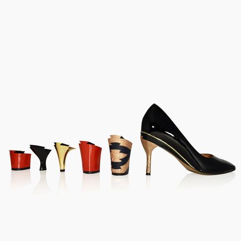 טניה הית'. חנות פופ-אפ של המותג הצרפתי, המציע נעליים עם עקבים מתחלפים בלחיצת כפתור (צילום: Tanya Heath Paris)