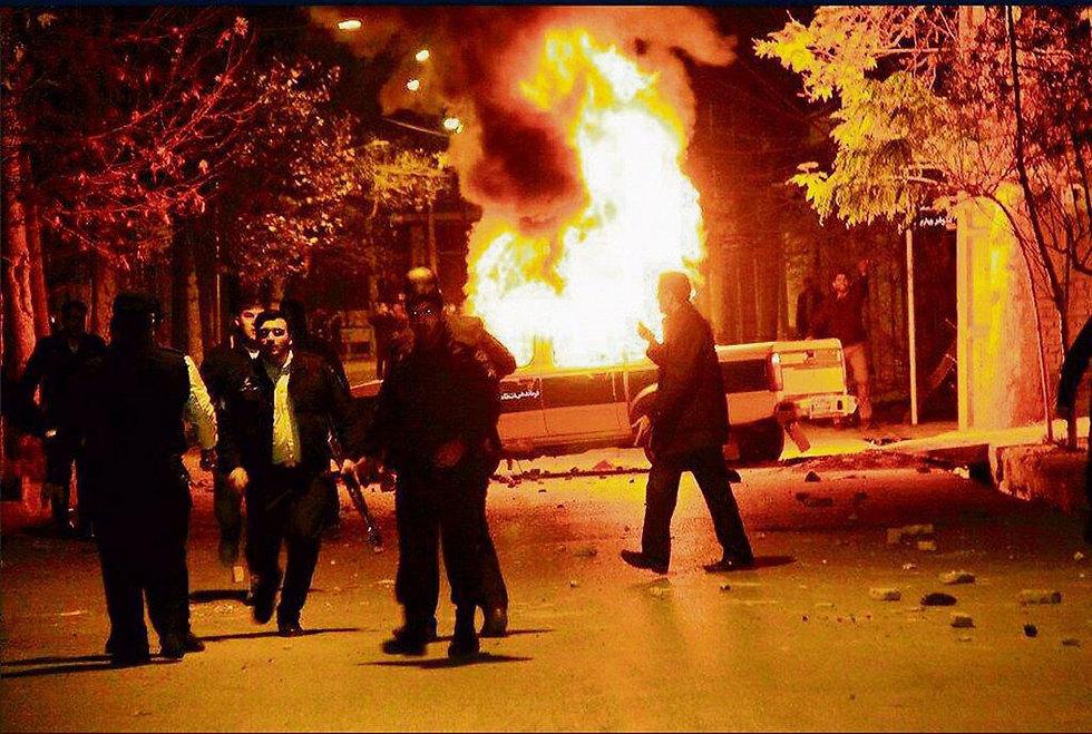 ההפגנות בימים האחרונים ברחבי איראן (צילום: מתוך טוויטר)
