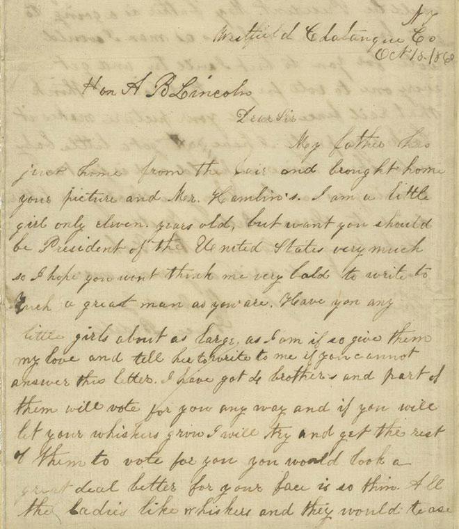 המכתב של גרייס בדל. צילום: courtesy of the Detroit Public Library, Burton Historical Collection and the Benjamin Shapell Family Manuscript Foundation