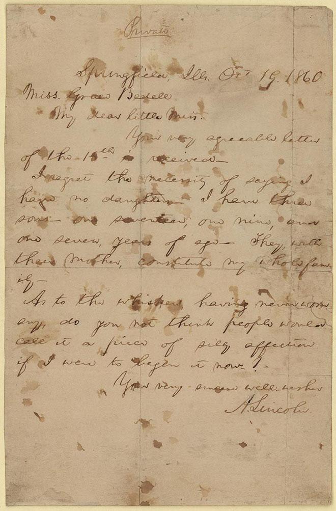 התשובה של לינקולן. צילום: courtesy of the Detroit Public Library, Burton Historical Collection and the Benjamin Shapell Family Manuscript Foundation