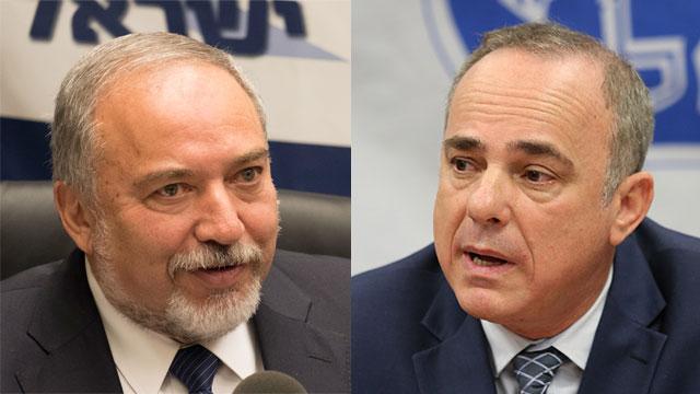 Defense Minister Lieberman, Energy Minister Steinitz (Photos: Yoav Dudkevich, Alex Kolomoisky)