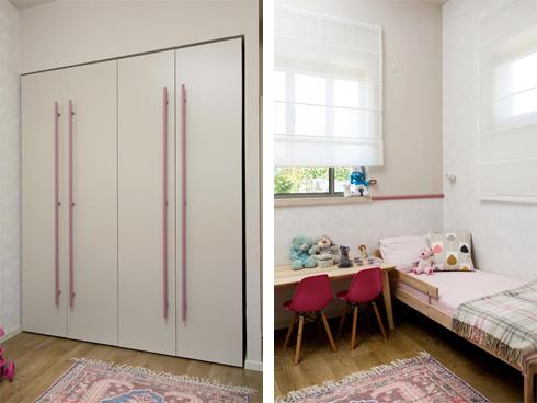 את ידיות הארון בחדר הבת ניתן יהיה להחליף כשתגדל (צילום: שירן כרמל)