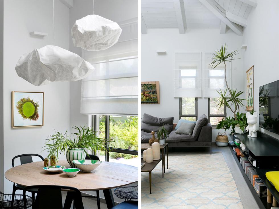 החלונות הארוכים בסלון (מימין) כוסו בווילונות רומאיים. מעל פינת האוכל (משמאל) מנורות שמזכירות עננים, בעיצוב מיקה בר וסטודיו ''פרודקס'' (צילום: שירן כרמל)