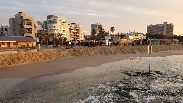 סוללות חול בחוף מציצים בתל אביב (צילום: עמית הובר) (צילום: עמית הובר)