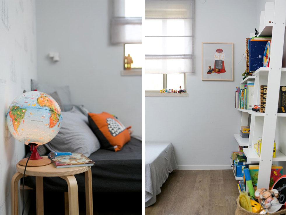 בחדרו של הבן טפט, רהיטי איקאה וארון לוקר במקום ארון רגיל (תמונה שלו תוכלו לראות בהמשך הכתבה) (צילום: שירן כרמל)