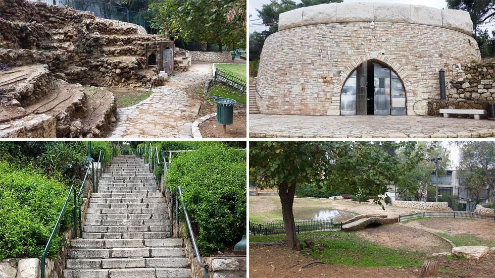 בכל פינה ברחבי הגן ניכרת תשומת הלב העיצובית והטופוגרפית, כולל עבודות אבן מרהיבות (צילום: מיכאל יעקובסון)