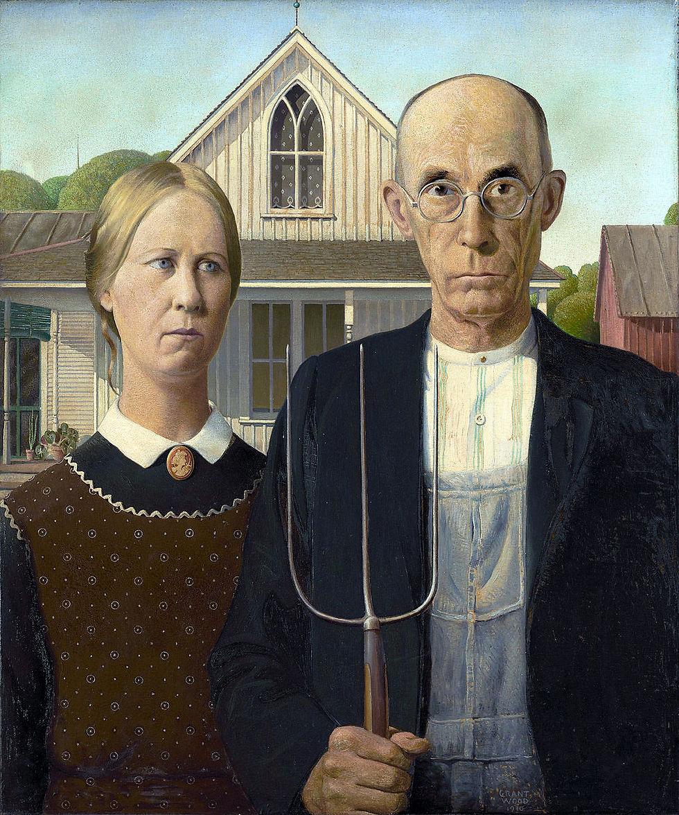 """אייקון אומנותי אמריקני (""""American gothic"""", עבודתו של גרנט ווד)"""