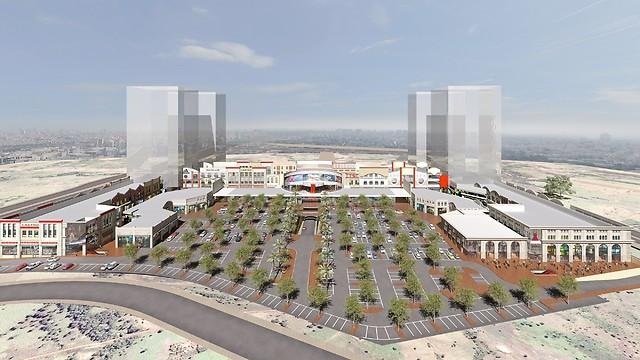"""הדמיית כפר הבילוי והקניות החדש """"מול החוף וילג'"""" (מקור: אמירי גן) (מקור: אמירי גן)"""