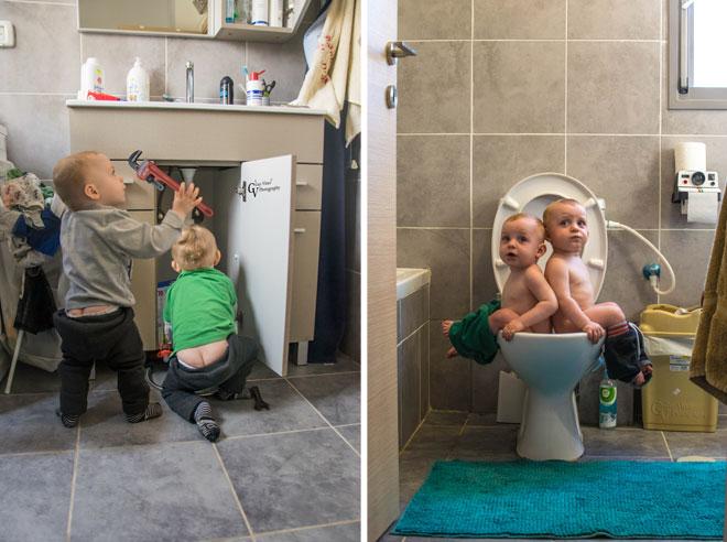 מימין: תאומים בשירותים. משמאל: טווינסטלטורים (צילום: ויינר גיא ודלית)