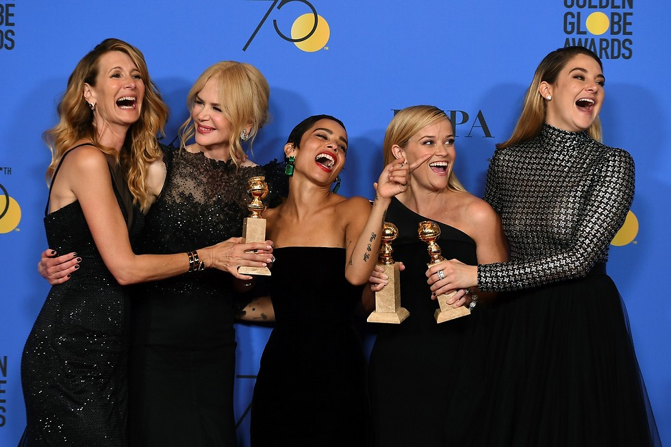"""צוות השחקניות של """"שקרים קטנים גדולים"""" זוהרות בשחור (צילום: AP) (צילום: AP)"""