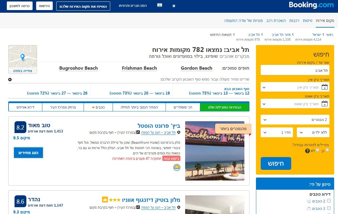 """""""הסדר כובל מול המלונות בישראל"""" (מתוך אתר בוקינג) (מתוך אתר בוקינג)"""