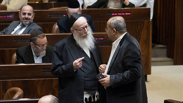 MK Yaakov Litzman at the Knesset as supermarkets bill is passed into a law (Photo: Yoav Dudkevitch)