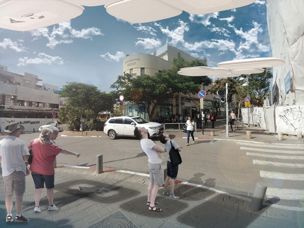 ''עננה'' - ההצעה הזוכה, של משרד האדריכלים פרי דוידוביץ, בשיתוף סטודיו העיצוב בר-דוידוביץ והמשרד לתכנון ערים ד.מ.ר (הדמיה: באדיבות עיריית תל אביב-יפו)
