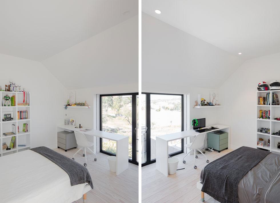 שני החדרים של הבנים כמעט זהים: לכל אחד מהם חלון וחדר רחצה צמוד (צילום: Joao Morgado)