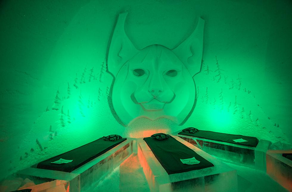 חדר נוסף עם תאורה ירוקה (צילום: Lapland Hotels SnowVillage) (צילום: Lapland Hotels SnowVillage)