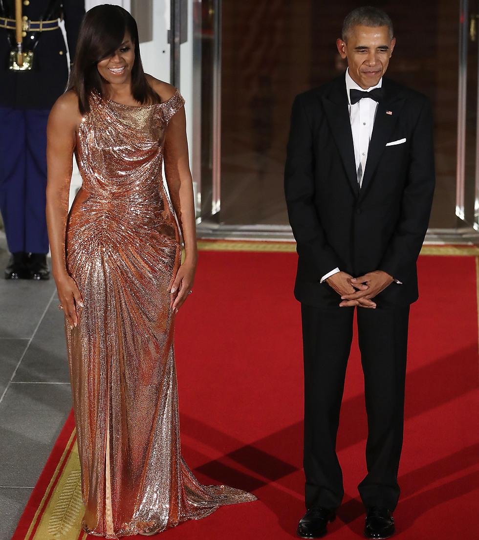 מישל אובמה לובשת ורסצ'ה באירוע רשמי בבית הלבן (Getty Images) (Getty Images)