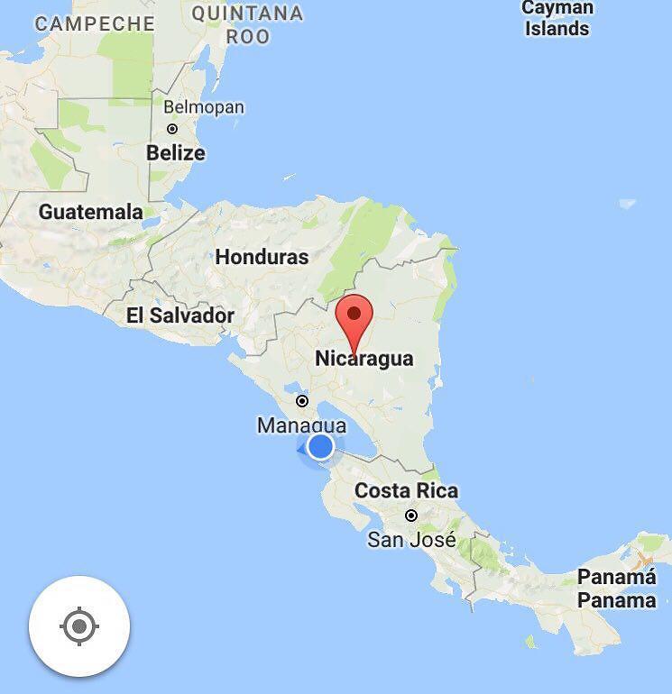ניקרגואה: בין הונדורס וקוסטה ריקה (מתוך גוגל)